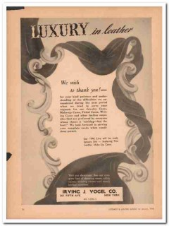 Irving J Vogel Company 1946 Vintage Ad Leather Luxury Thank You Wish