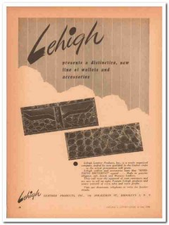 Lehigh Leather Products Inc 1946 Vintage Ad Wallet Accessories