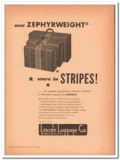 Lincoln Luggage Company 1946 Vintage Ad Zephyrweight Cabana Stripes