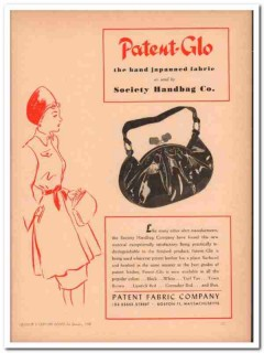 patent fabric company 1946 patent-glo society handbag vintage ad
