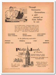 Philip Jacobs Of London 1946 Vintage Ad Leather Goods Generations