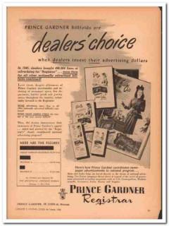 Prince Gardner Inc 1946 Vintage Ad Leather Billfolds Dealers Choice
