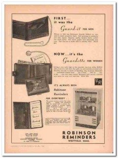 Robinson Reminders Inc 1946 Vintage Ad Billfold Guard-It Guardette