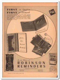 Robinson Reminders Inc 1946 Vintage Ad Billfold First Quality Guard-It