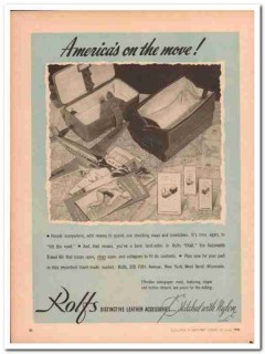 Rolfs 1946 Vintage Ad Leather Goods Automatic Travel Kit America Move