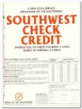 bank of the southwest 1967 new loan service check credit vintage ad
