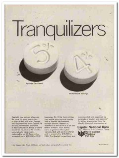 capital national bank 1967 tranquilizers saving certificate vintage ad