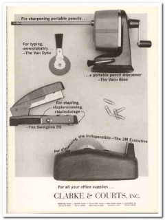 clarke courts inc 1967 sharpener stapler office supplies vintage ad