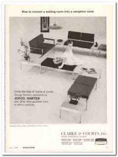 clarke courts inc 1967 harter reception room furniture vintage ad