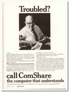 com-share southern inc 1967 troubled computer time-sharing vintage ad
