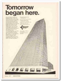 Houston Natural Gas Corp 1967 Vintage Ad Total Energy Tower Tomorrow
