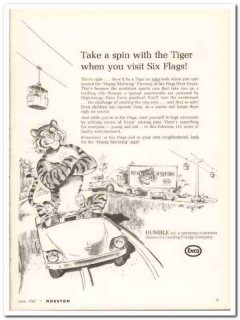 Humble Oil Refining Company 1967 Vintage Ad ENCO Six Flags Spin Tiger