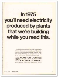 houston lighting power company 1968 electricity produced vintage ad