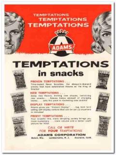 adams corp 1967 temptations snacks peanuts korn balls food vintage ad