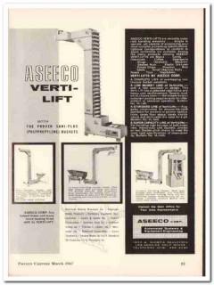 aseeco corp 1967 verti-lift material handling elevator food vintage ad