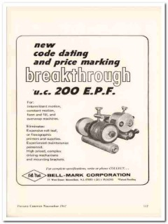 bell-mark corp 1967 code dating price marking food vintage ad