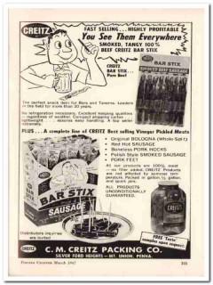 c m creitz packing company 1967 bar-stix beef sausage food vintage ad