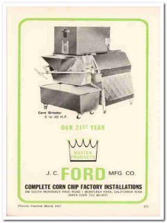 j c ford mfg company 1967 corn grinder chip snack food vintage ad