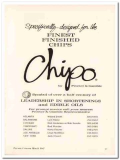 procter gamble company 1967 chipo finest finished chips vintage ad
