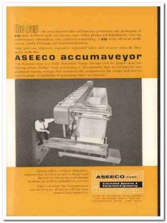 aseeco corp 1968 accumaveyor product packaging snack food vintage ad
