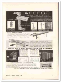 aseeco corp 1968 belt vibrating conveying system snack food vintage ad