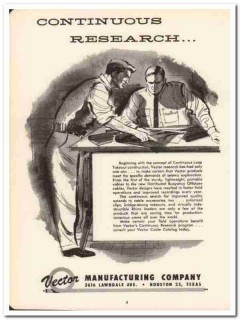 Vector Mfg Company 1958 Vintage Ad Oil Seismic Continuous Research