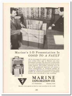 Marine Exploration Company 1958 Vintage Ad Oil Seismic 3D Presentation