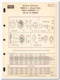 rochester carburetors 1950-52 chevrolet model b service vintage manual