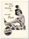 pepsi-cola company 1953 woman thirsting ice-cold soda pop vintage ad