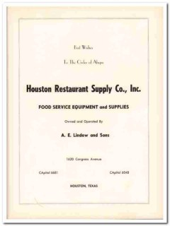 houston restaurant supply company 1953 lindow food service vintage ad
