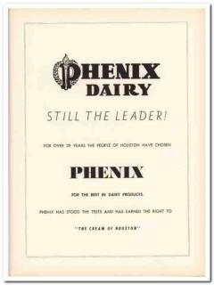 phenix dairy company 1953 leader cream houston texas food vintage ad