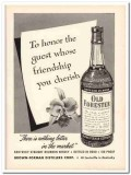 brown-forman distillers corp 1953 guest old forester whisky vintage ad