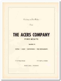 acers company 1953 hotels clubs restaurants fine meats vintage ad