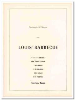 louis barbecue restaurant 1953 greetings houston ahepa food vintage ad