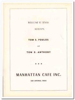 manhattan cafe inc 1953 tom poulos anthony san antonio tx vintage ad