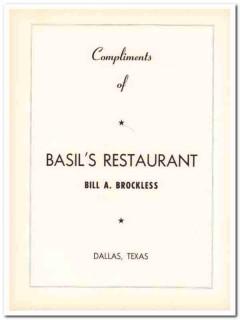 basils restaurant 1953 bill brockless dallas texas ahepa vintage ad