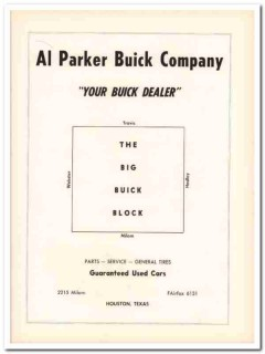 al parker buick company 1953 houston parts service used car vintage ad