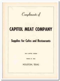 capitol meat company 1953 houston supplies cafe restaurants vintage ad