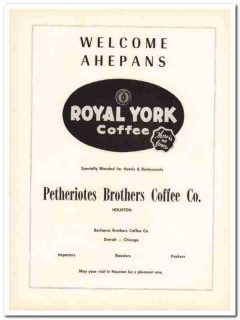 petheriotes brothers coffee company 1953 ahepans royal york vintage ad