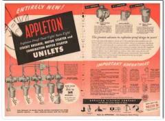 appleton electric company 1954 explosion-proof unilets vintage ad