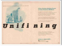 Universal Oil Products Company 1954 Vintage Ad Unifining Refining