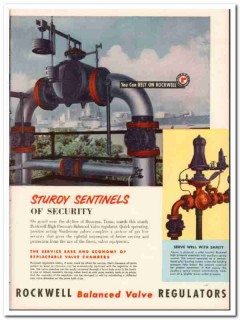 Rockwell Mfg Company 1954 Vintage Ad Oil Balanced Valve Regulators