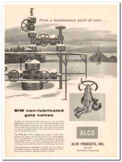 Alco Products Inc 1957 Vintage Ad Oil BIW Non-Lubricated Gate Valves