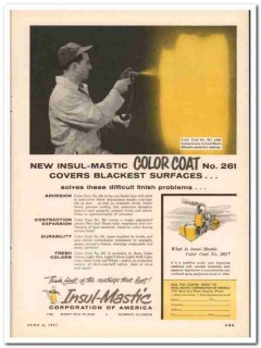 insul-mastic corp 1957 color coat covers blackest surfaces vintage ad