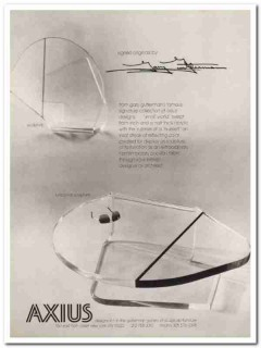 axius design inc 1976 gary gutterman acrylic furniture vintage ad