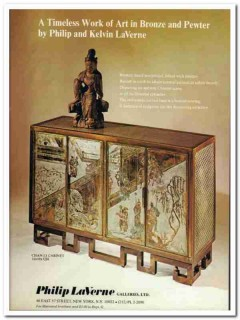 philip laverne galleries ltd 1976 bronze inlaid pewter art vintage ad