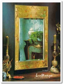 la barge 1976 chinoiserie reverse painted gold leaf mirror vintage ad