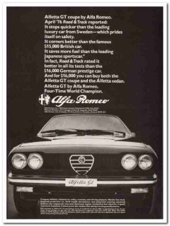 alpha romeo inc 1976 alfetta gt coupe automobile car vintage ad