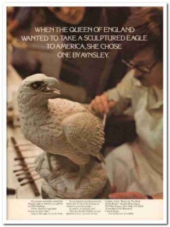 aynsley china company 1977 queen england sculptured eagle vintage ad