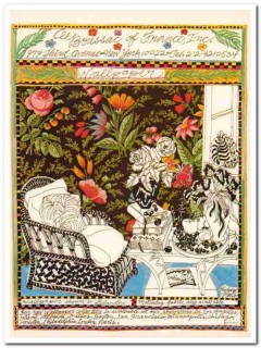 boussac of france inc 1977 giglio blandine wallpaper fabric vintage ad